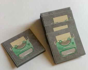 Vintage Typewriter Mini Cards, Grey Card Set, Small blank cards, Fun Mini Cards, Set of 16 Small Cards