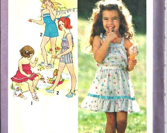 Clearance Sale! Girls Sun Dress Playsuit  Vintage Pattern Simplicity 9407 Size 6 1980's