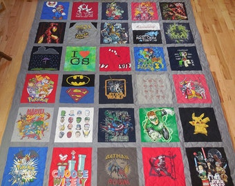 30 T-Shirt Memory Quilt With Sashing *** FREE SHIPPING *** Superior Work *** Quick Turn Around
