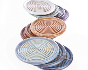MADE to ORDER Mix or Match Stackable Stoneware Groovy Coaster Any color. Allow 4 weeks for completion. Sold individually.