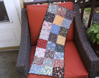 Floral patchwork quilted table runner floral squares runner