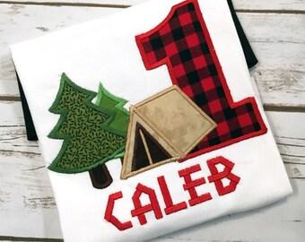 Boy Birthday Lumberjack Shirt Trees - Camping Birthday Shirt - Forest - Tent Shirt - Red Buffalo First Birthday Shirt
