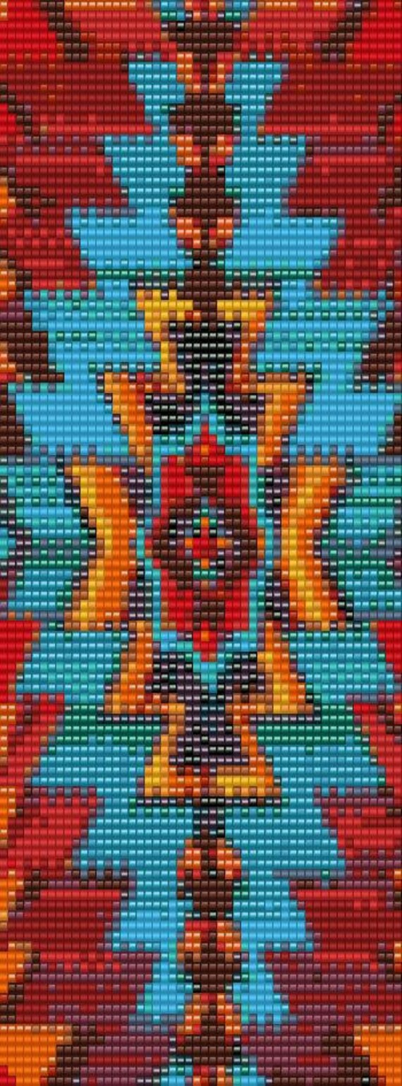 Aztec 1 Peyote Or Loom Bracelet Beading Pattern For Advanced