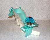 Turquoise Blue Cupcake High Heel Paper Shoe Gift Box, Decoration