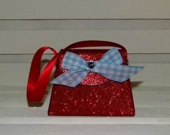 Paper Purse, Red Glitter and Blue Gingham Paper Purse Gift Box Gift Bag