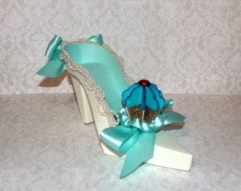 Turquoise Blue Cupcake High Heel Paper Shoe Gift Box, Decoration