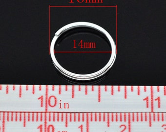 100pcs. Silver Plated Split Rings Key Rings - 16mm (0.63 inch)