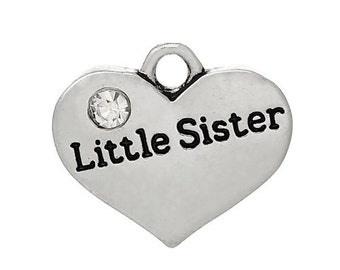 """1 pc. Antique Silver """"Little Sister"""" charm with rhinestone- 17mm X 14 mm"""
