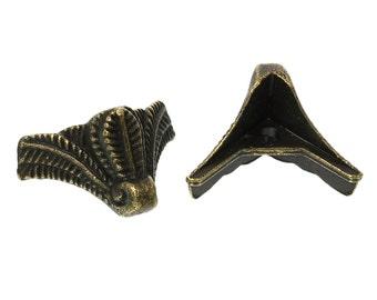 Lot of 30 Antique Bronze Corner Protector - For Boxes - Desks - Hardware - 2.2cm x 1.6cm