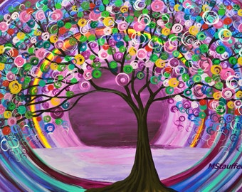 the evening tree painting purple large original colorful abstract acrylic on canvas 24x36 in. by artist Mariana Stauffer Malorcka art