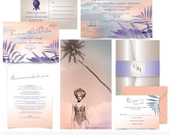 Lost in Paradise .Tropical Wedding invitation. lilac and peach. Invitation suite Sample. Printing services available