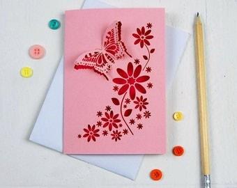 Laser cut Butterfly card