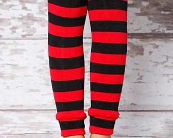 ON SALE Leg Warmers - Red & Black Stripe