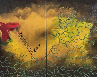Substance - DanielBrunosArts - Original - Abstract painting - ( 24'' x 36''  x1.5'' deep )