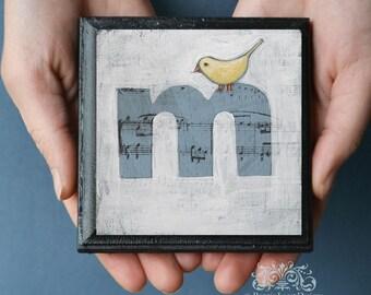 ABC Block Bird Nursery Decor, Alphabet Art  Letter M, ABC Art Print for Kid's Room, Alphabet Art Print, Whimsical Bird Alphabet Letter M Art