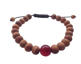 Tibetan mala Wood bead Wrist mala Bracelet with large Carnelian Spacer for meditation