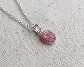 "Natural pink druzy charm necklace / 18"" sterling silver chain / 8x10mm charm silver plated bezel / FREE gift wrapping"