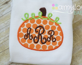 Monogram Pumpkin Baby Bodysuit - Polka Dot  Orange - Fall - Thanksgiving - Halloween - Boy or Girl