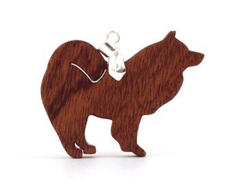 Samoyed Pendant Necklace, Wooden Dog Jewelry, Dog Breed Pendant, Samoyed Jewelry, Sapele