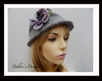 Women's Handmades Cloche Hat-81 Women's Felted Cloche Hat, Vintage, Accessories, Hat, Handmade, Orange,Green, cloche felt hat, Downton abbey