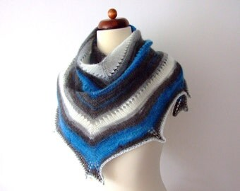 winter scarf, black white blue, triangle, handknit, for him or her