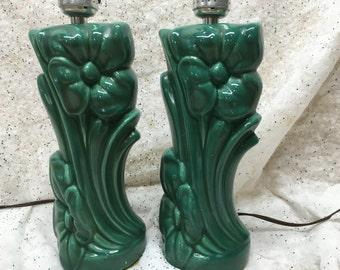 Vintage Lamps Ceramic Art Deco Art Nouveau Bottle Gren Pair