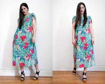 Vintage Floral Tropical Hawaiian Kaftan Cape Cotton Maxi Dress