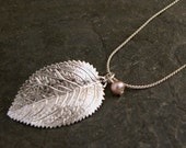 Gift For Women, Raywood Silver Leaf Pendant  - Silver Leaf Pearl Necklace Inspired By Mother Earth