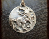 Vintage French Equestrian Horse silver Medal - horse race souvenir medal from France signed Bolliger