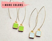 Square Bezel Gold Drop Earrings - Any Color