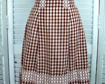 Vintage Chicken Scratch Embroidery Half Apron-Brown gingham-FREE SHIPPING in US