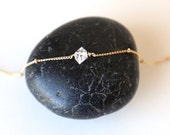 Herkimer Diamond Tiny Dotted Choker Necklace // Gold Filled // Sterling Silver