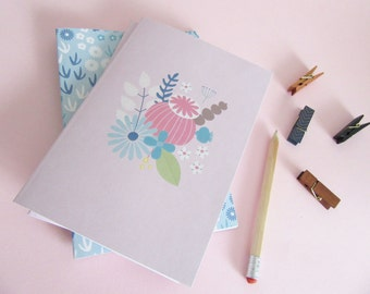 A5 Botanical Notebook or Journal in Pink, With Floral Print and Plain Sketchbook Style Pages