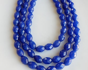 Blue Jade  faceted barrel  beads  (8x6mm)  Full strand ( 15.5 inches)