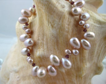 Pink Teardrop Pearl and Garnet Bracelet