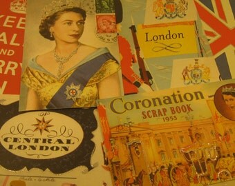 6 Vintage Inspired Cavallini & Co. Glittered London Postcards Paper Supplies