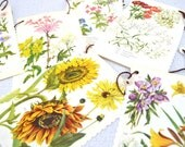 Flower Bunting - from book and buttons - upcycled -E-