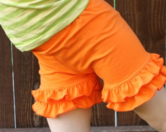tangerine orange bright knit double ruffle shorts shorties bloomers sizes 12m - 14 girls