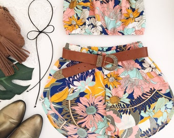 Bright floral print matching set festival set fashion twin set crop tube top high waisted shorts