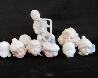 Art Supply Destash SALE - Frozen Charlotte Head and Figurine Lot - 9 - Antique - pre-WWII - Dug up in Germany - 1800's