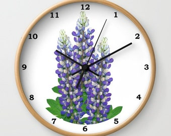Blue and white lupine flowers wall clock, floral photograph, gift for gardener, cottage garden, mother's day gift, perennial flower