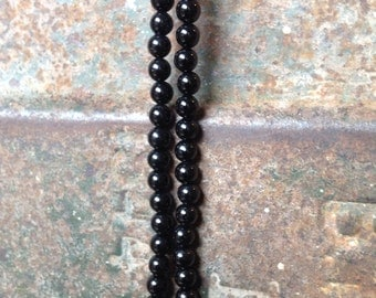 SALE! Black Smooth Round ONYX Full Strand 6 mm Super Shiny! Consistent! GORGEOUS!