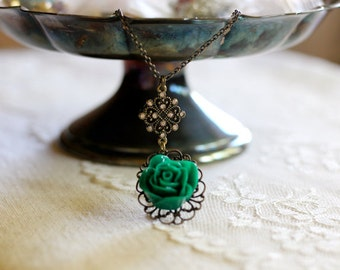 Romantic kelly green rose, filigree, and rhinestone pendant necklace, Greener On The Other Side