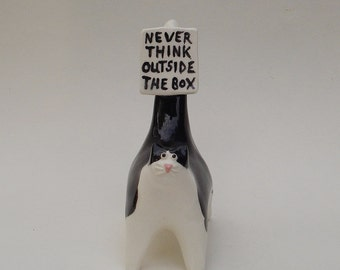 Never think outside the box, cat mini sculpture