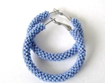 Powder blue hoop earrings | beaded blue jewelry | woven beaded hoops | beaded blue  earrings |
