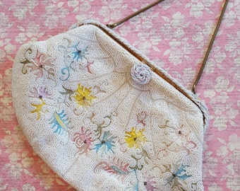 Spring Pastel Floral French Beaded and Embroidered Purse, Vintage France