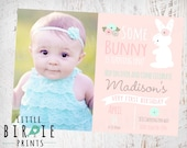 BUNNY BIRTHDAY INVITATION Bunny First Birthday Party Invitation Mint and Pink Spring Easter Bunny Invitation - Some Bunny Is turning one
