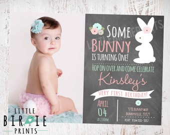 BUNNY BIRTHDAY INVITATION Chalkboard Bunny First Birthday Party Invitation Easter Party Some Bunny Is turning One Invitation Pink Mint