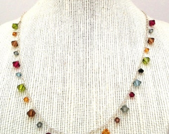 Sterling Silver and Swarovski Crystal Bead Droplet Necklace