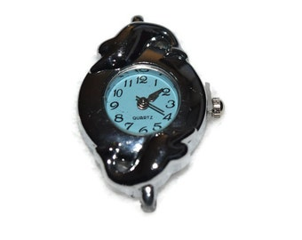 Dolphins Watch Face for Beading Jewelry Finding Supply Light Blue